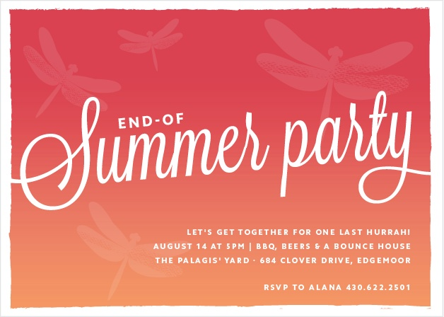 Invite the whole neighborhood for a BBQ with the Summer Sunset Party Invitations.
