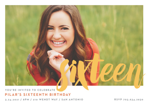 Invite friends to the party of the year with the Simply Sixteen Sweet Sixteen Party Invitations.