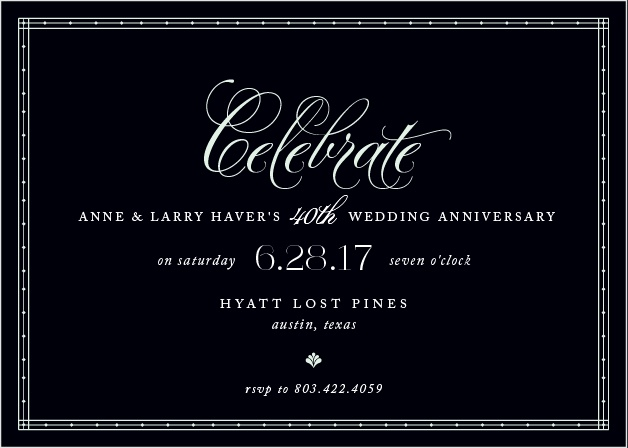 Commemorate a lifetime of love together with the Chic Celebration Party Invitations.
