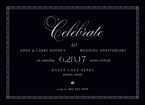 Commemorate a lifetime of love together with the Chic Celebration Anniversary Party Invitations.