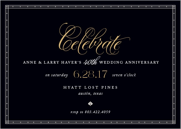 Commemorate a lifetime of love together with the Chic Celebration Foil Party Invitations.