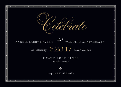 Commemorate a lifetime of love together with the Chic Celebration Foil Anniversary Party Invitations.