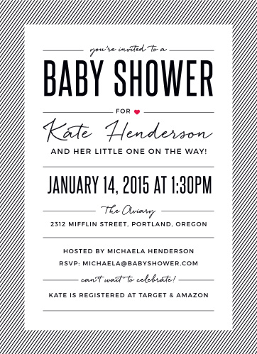 Throw a shower for the fashionista mom-to-be with the Stylish Stripes Baby Shower Invitations.