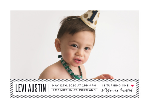 Stylish Stripes First Birthday Invitations