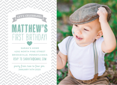 Celebrate your baby's big day fashionably with the Trendy Chevron Baby Announcements from the Love Vs Design Collection at Basic Invite.