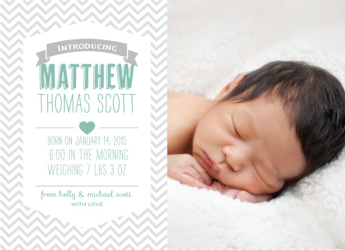 Share your exciting news with the Trendy Chevron Baby Announcements from the Love Vs Design Collection of Basic Invite.