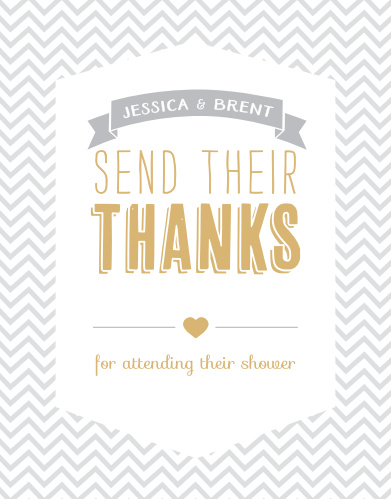 Share your gratitude with the stylish design of the Trendy Chevron Foil Baby Shower Thank You Cards.