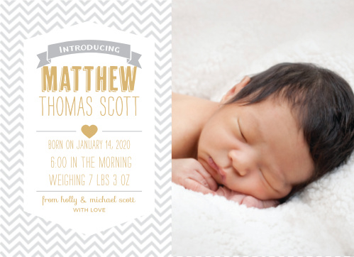 Share your exciting news with the Trendy Chevron Foil Baby Announcements from the Love Vs Design Collection of Basic Invite.