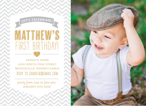 Celebrate your baby's big day fashionably with the Trendy Chevron Foil First Birthday Invitations from the Love Vs Design Collection at Basic Invite.