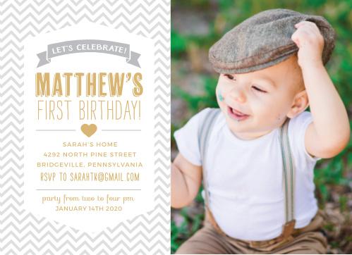 Boys first birthday invitations by basic invite trendy chevron foil first birthday invitations filmwisefo
