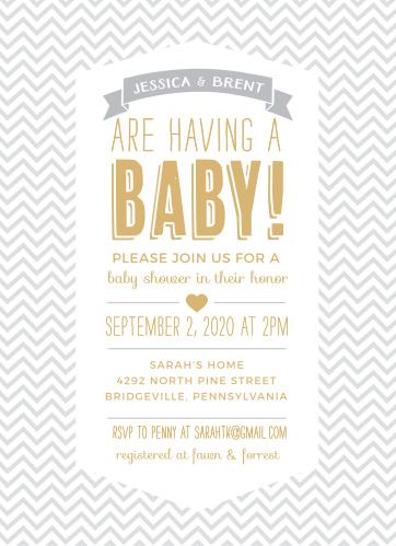 Invite friends and family to shower the mother-to-be with gifts for her baby with the Trendy Chevron Foil Baby Shower Invitations from the Love Vs Design Collection at Basic Invite.