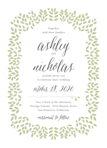 Graceful foliage frames the text of the Blushing Leaves Wedding Invitation Suite.