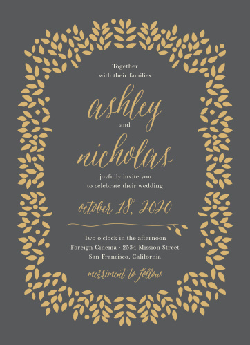 Graceful foliage in gold or silver pressed foil frames the text of the Blushing Leaves Foil Wedding Invitation Suite.
