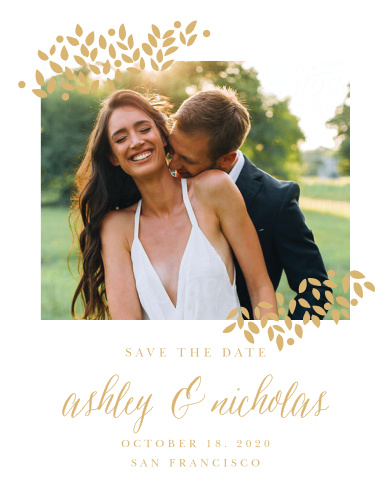 Accent your engagement photo with the delicate foliage of the Blushing Leaves Foil Save-the-Date Cards.