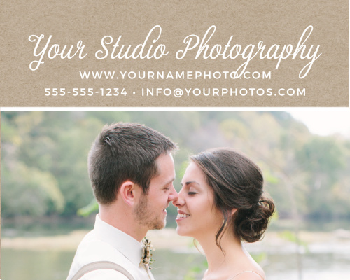 Advertise your photography studio with the Kraft Frame Contact Card.