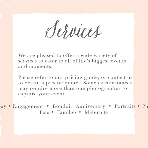Promote your photography studio with the Painted Border Services Cards.