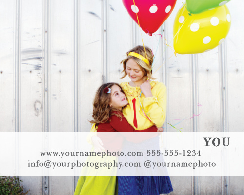 Advertise your photography studio with the Modern Family Contact Card.