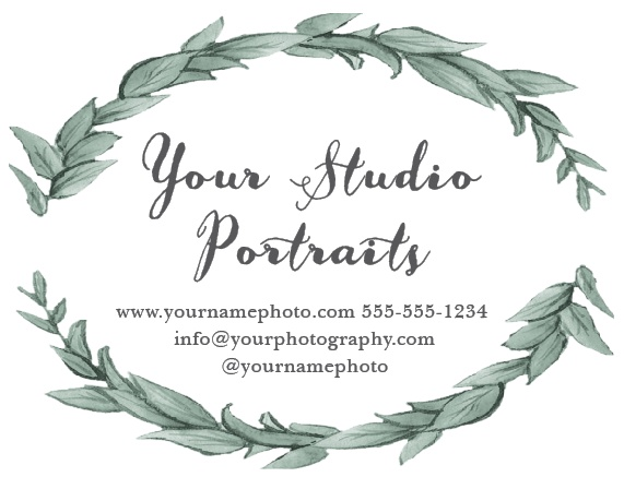 Advertise your photography studio with the Leafy Love Contact Card.