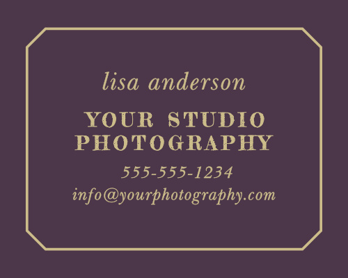 Advertise your photography studio with the Vintage Photo Album Contact Card.
