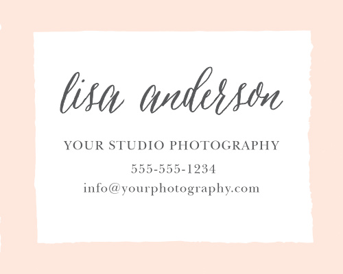 Advertise your photography studio with the Painted Border Contact Card.