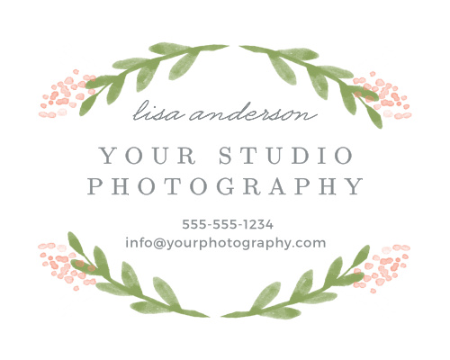 Advertise your photography studio with the Garden Watercolor Contact Card.