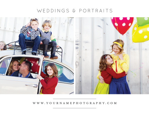 Introduce potential clients to your photography studio with the Modern Family Promotion Mini Fold.