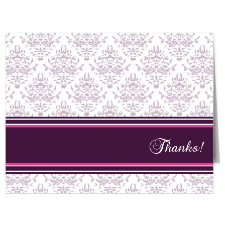 The Ribbon and Damask combines the old and the new in clear and bold graphic design that expresses your thanks beautifully.