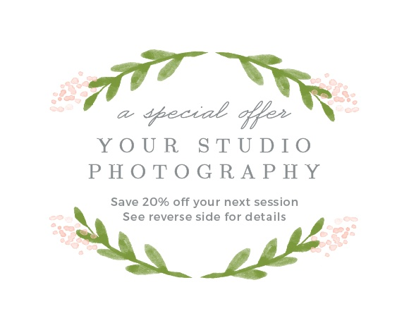 Extend special offers to clients with the Garden Watercolor Promotion Card.
