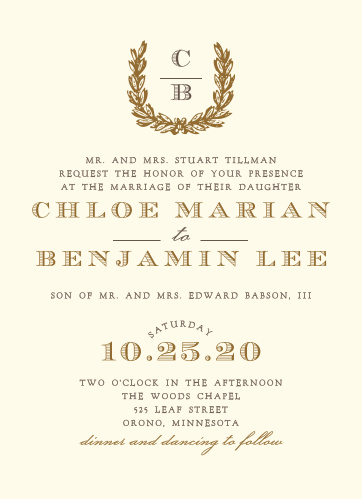 Vintage fonts and wreath make a brilliant accent for the Charming Woods Wedding Invitations.