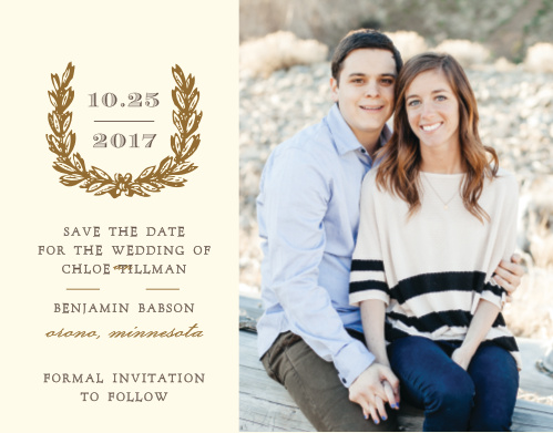 Personalize your engagement photo with the vintage wreath of the Charming Woods Save-the-Date Magnets.