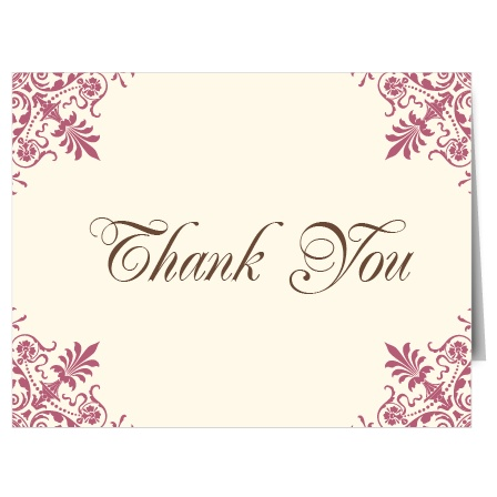 The Ornate Corners is a single sided thank you card that features ornate patterns in each of the four corners.