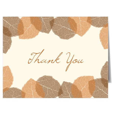 The Autumn Leaves is the perfect fall thank you card with its leaves that can be customized to be any color you would like.
