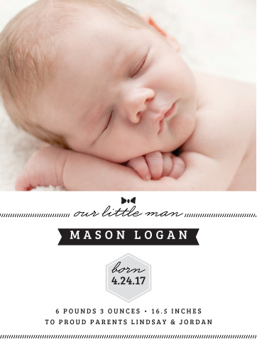 Add your son's newborn picture to the sophisticated yet cute design of the Little Guy Birth Announcements from the Love Vs Design Collection at Basic Invite.