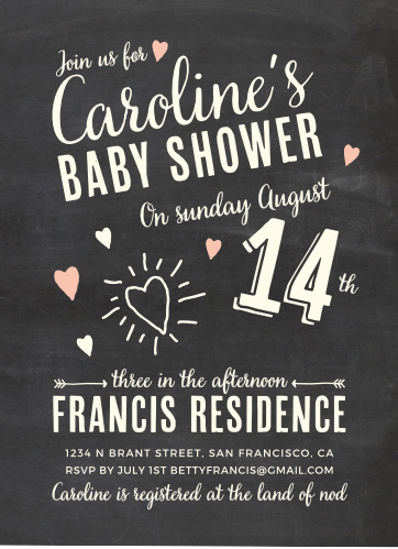 Chalkboard baby shower invitations match your color style free fun times girl baby shower invitations filmwisefo