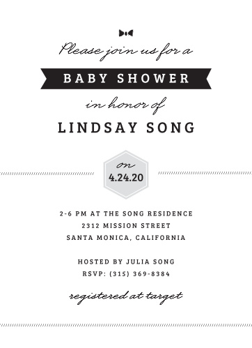 Cordially invite friends and family to celebrate the mom-to-be with the Little Guy Baby Shower Invitations.