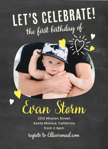 Add your son's photo to the bean-shaped frame of the Fun Times Boy First Birthday Invitations.