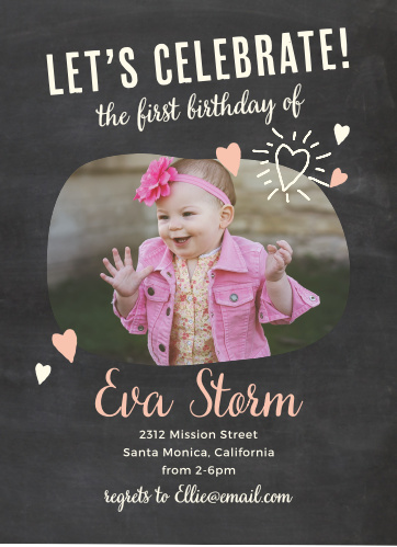 Add your son's photo to the bean-shaped frame of the Fun Times Girl First Birthday Invitations.
