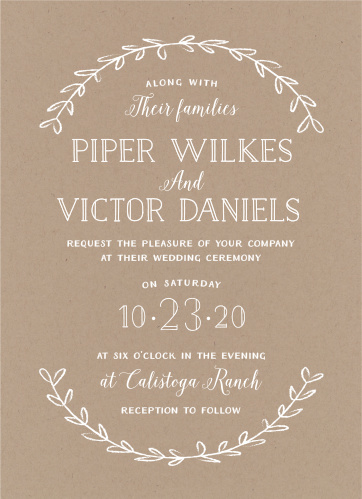 Simple laurels of leaves frame your text on the Rustic Love Wedding Invitations.