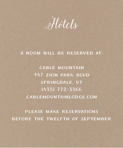Help guests find the best place to stay for your wedding with the Rustic Love Accommodation Cards.