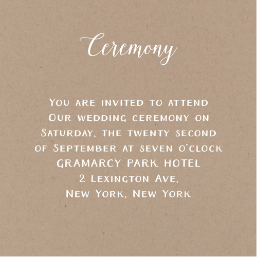 Create simple invites to your wedding ceremony with the Rustic Love Ceremony Cards.