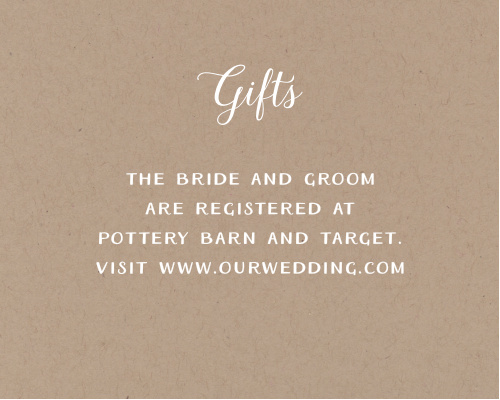 Add your text to the simple but warm design of the Rustic Love Registry Cards.