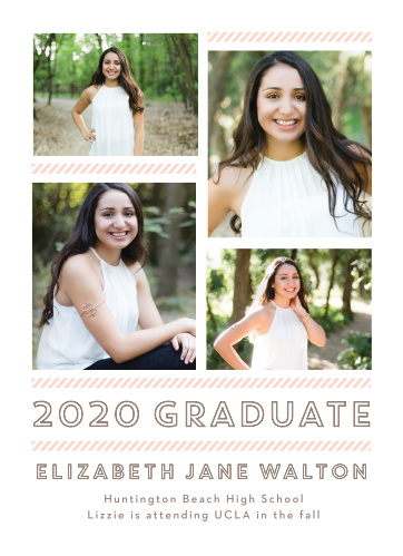 Personalize your announcements with a spread of four grad shots on the Staggered Snapshots Graduation Announcements.