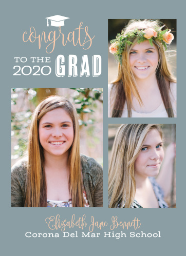 Share a spread of three photos with the Congrats to the Grad Graduation Announcements.