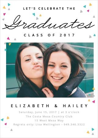 Colorful Confetti Graduation Invitations