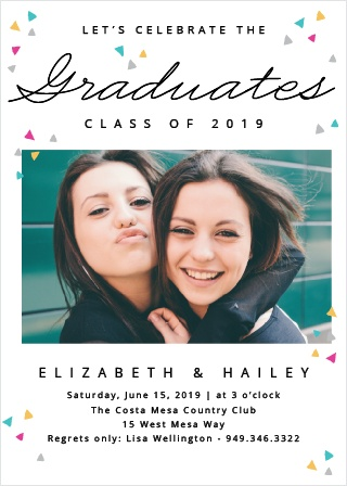Gather friends and family for the party of the year with the Colorful Confetti Graduation Invitations.