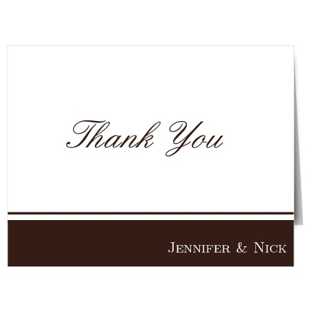 Classy and cool, The Simple Luxury presents your thanks with a simple bar highlighting your names at the bottom. No fuss and no frills, this thank you card simply displays what is most important – your gratitude for the love, support and generosity of your friends and family.