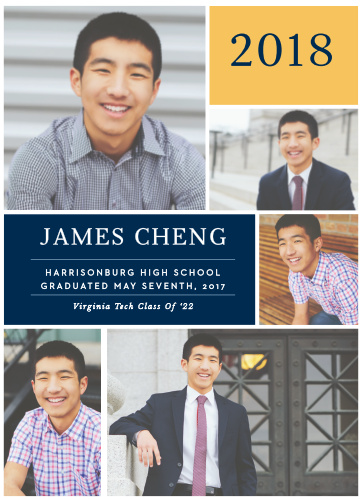 Announce your graduation ceremony with a professional spread of five photos using the School Colors Graduation Announcements.