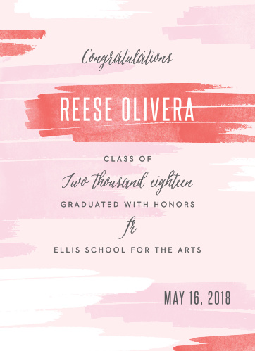 Announce your upcoming graduation ceremony with the artistic style of the Brush Girl Graduation Announcements.