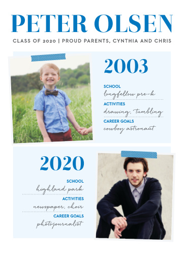 Compare photos throughout the years with the Status Report Boy Graduation Announcements.