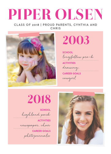 Compare photos throughout the years with the Status Report Girl Graduation Announcements.